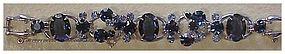 Juliana bracelet-large dark blue oval stones, light blu