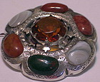 """Scottish agate pin with cairngorn - Victorian  1 7/8"""""""