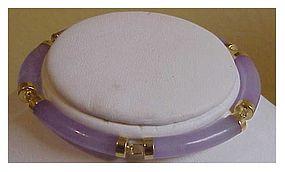 14K yg Lavender tubular jade bracelet (6 segments)