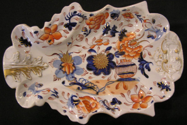 Mason's Ironstone Shaped Dish with Angry Flower