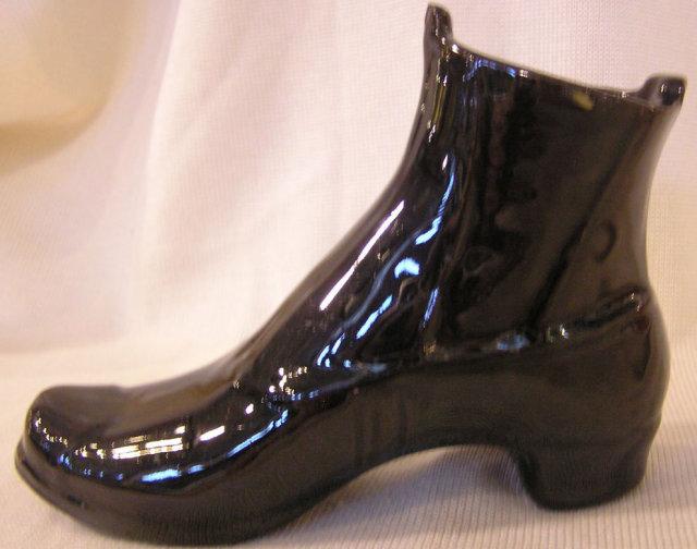 Jackfield Boot of Black glazed Redware