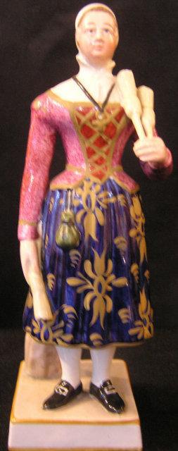 Pearlware Figure of Madam Vestris as the Brushwoman