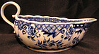 Hand Painted Caughley Soft Paste Porcelain Sauce Boat