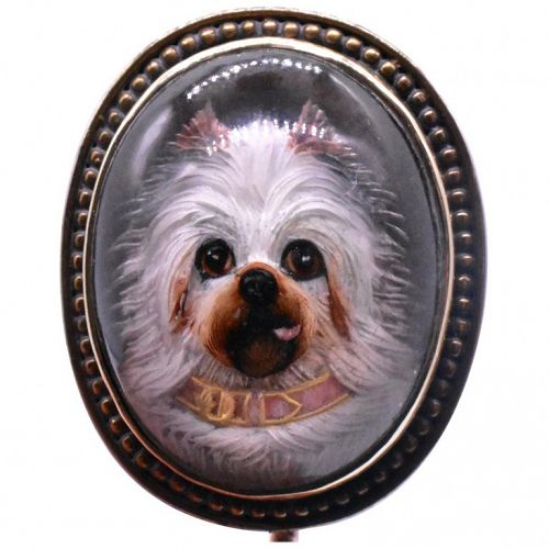 Stickpin with an Essex crystal Maltese or similar w15K gold bezel