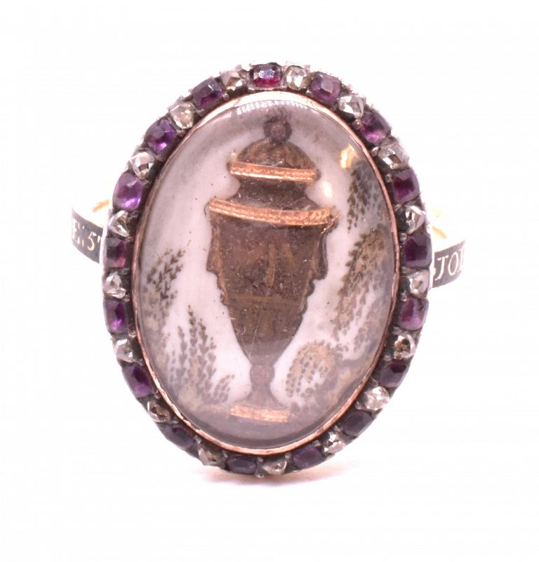 Memorial 18K, diamond and amethyst with hair paint Ring