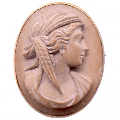 Brooch,cameo carved from putty colored lava