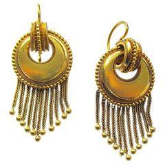 Antique Victorian 18K Gold Fringe Dangle Earrings c1860