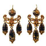 Antique Enamel Gold Girandole Earrings, circa 1850