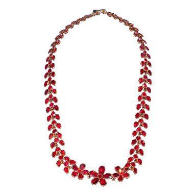 Dazzling Antique Georgian Almondine Garnet Pansy Necklace c 1800
