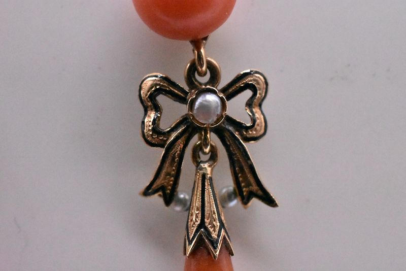 Coral Earrings with Pearls and Enamel Bow