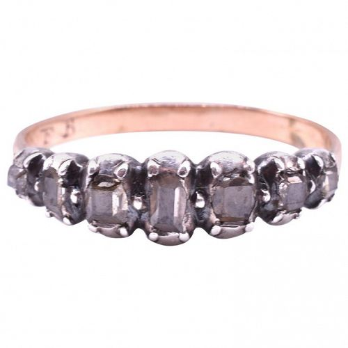 C1790 7 Diamond ½ Hoop Eternity Band RING set in Gold and Silver