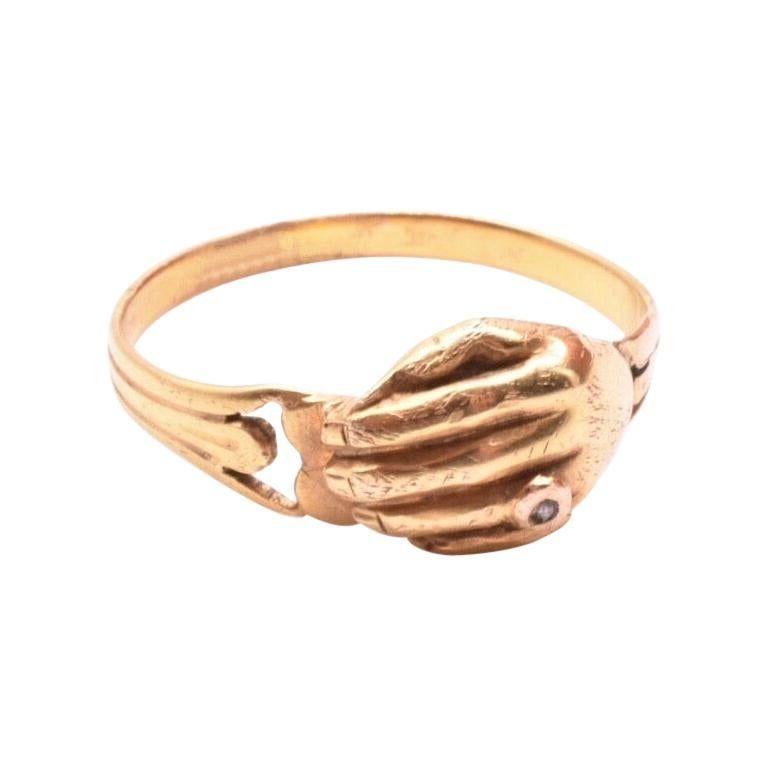 C1880 18K HAND over Heart  RING w Diamond Ring on Finger