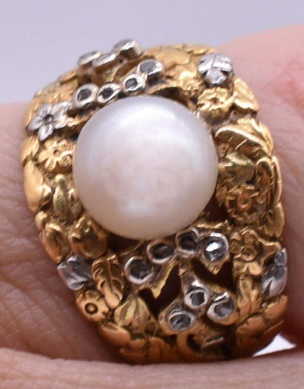 C1920 18K 2 Color Pearl Diamond