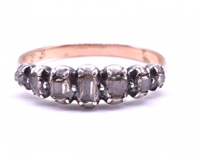 C1790 7 stone table cut  Diamond set in gold & silver