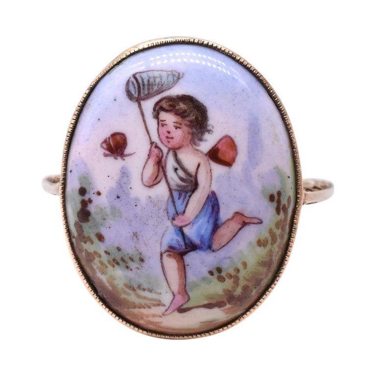 C1890 18K Painted Enamel cherub of girl chasing butterfly Ring