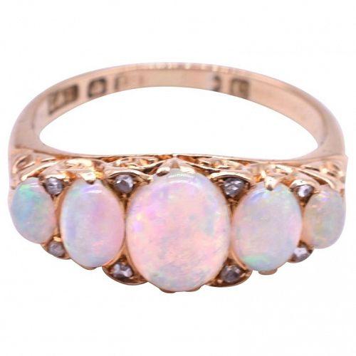 HM SHEFFIELD 1870 18k 5 stone Australian opal ring