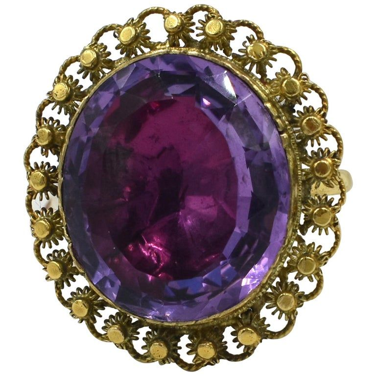 C1860 AMETHYST Single Stone Large Cannetille Ring 15K