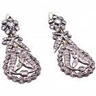 Earrings, C1820 OVAL DROP DIAMOND PENDELOQUE FRENCH