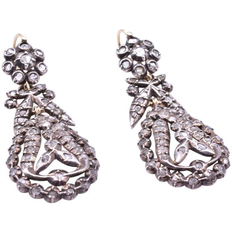 Earrings, C1820 OVAL DROP DIAMOND PENDELOQUE FRENCH