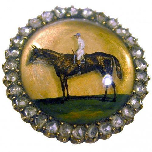 Brooch, C1880 horse&rider18K, ESSEX CRYSTAL FR