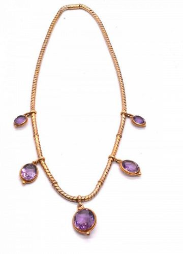 18 Karat Snake Chain Necklace with Amethyst Drops