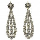 Antique Paste and Silver Long Drop Earrings