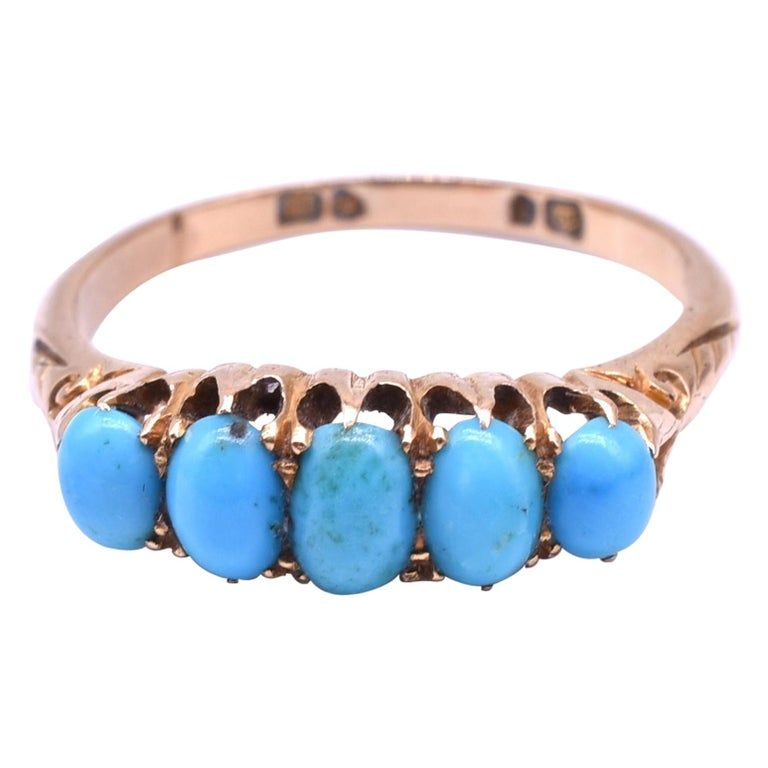 HM CHESTER 1907 15K 5 STONE TURQUOISE RING