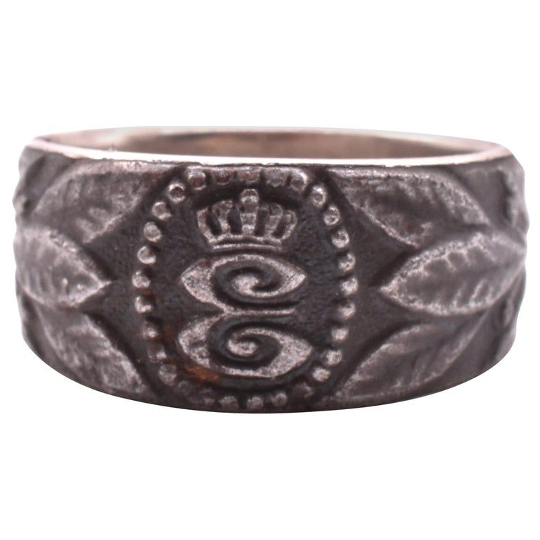 """Engraved """"1915"""" and Letter """"E"""" Steel Signet Ring"""