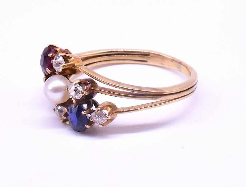 Diamond Sapphire, Ruby and Pearl Triple Band Ring