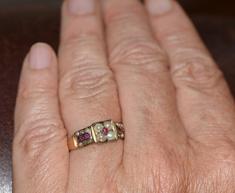 15 Karat Ruby and Pearl Band Ring HM Chester 1882
