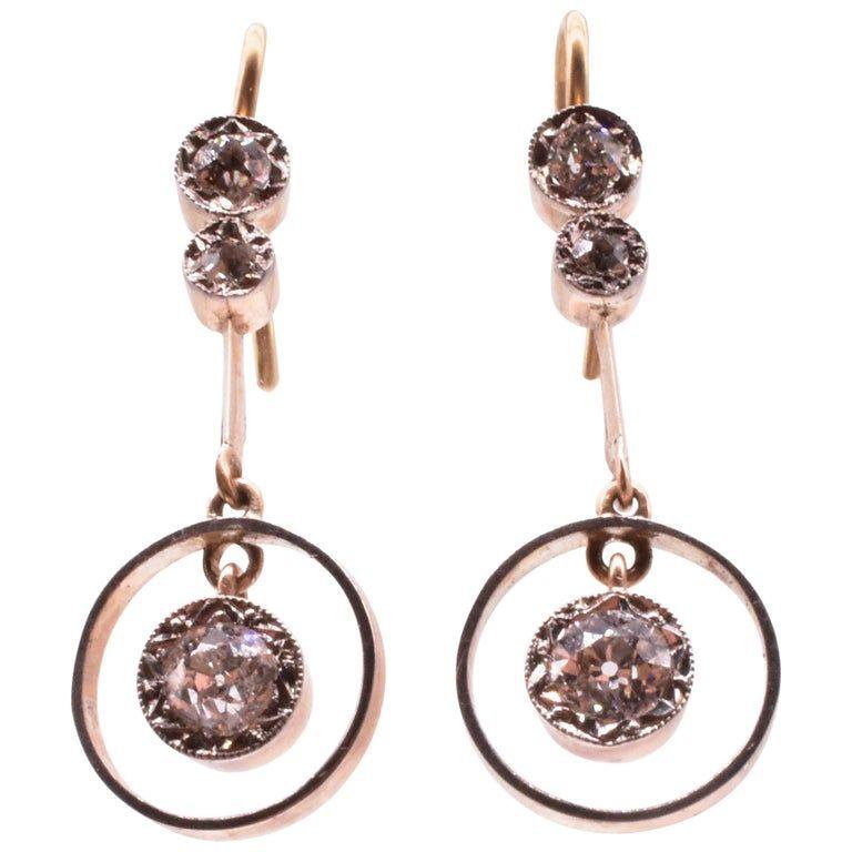 White and Yellow Gold Diamond Circle Drop Earrings C. 1900