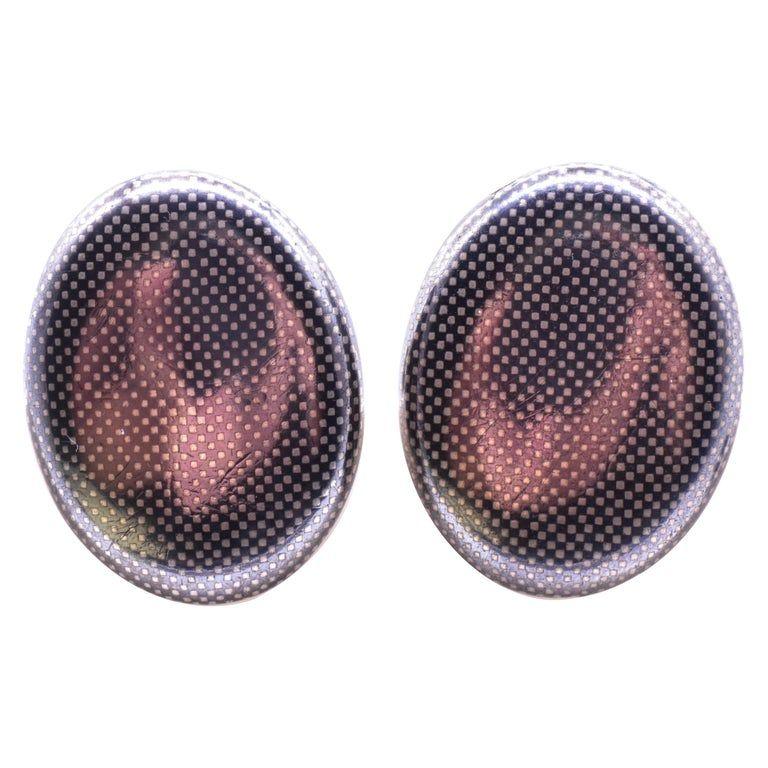 C.1890 Large Niello Oval Cufflinks