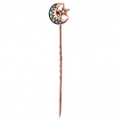 Sun Moon and Star Turquoise and Pearl Stick Pin HM 1902, 9 Karat Gold