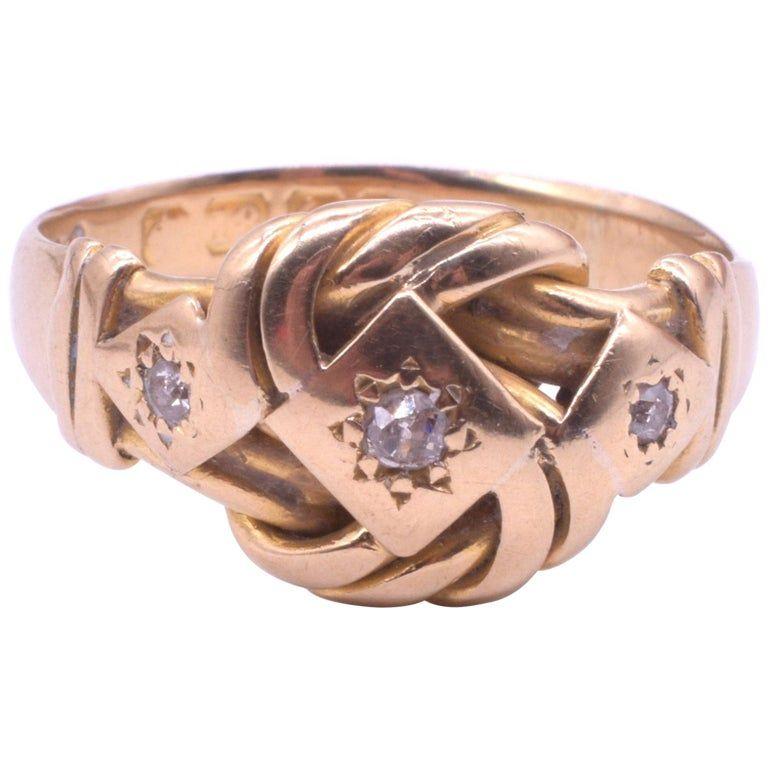 Diamond Lover's Knot Ring in 18K Hallmarked Birmingham, 1905