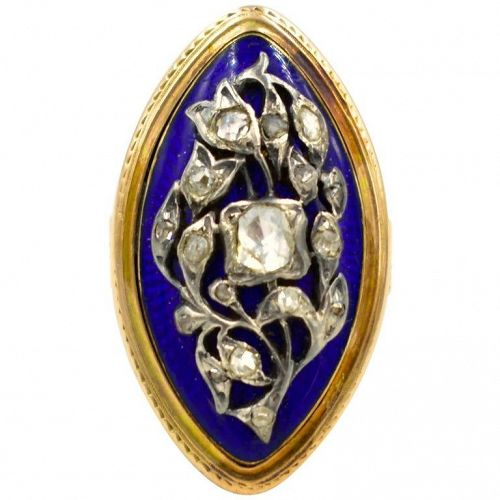 Antique Marquis Shaped Gold Enamel and Diamond Ring