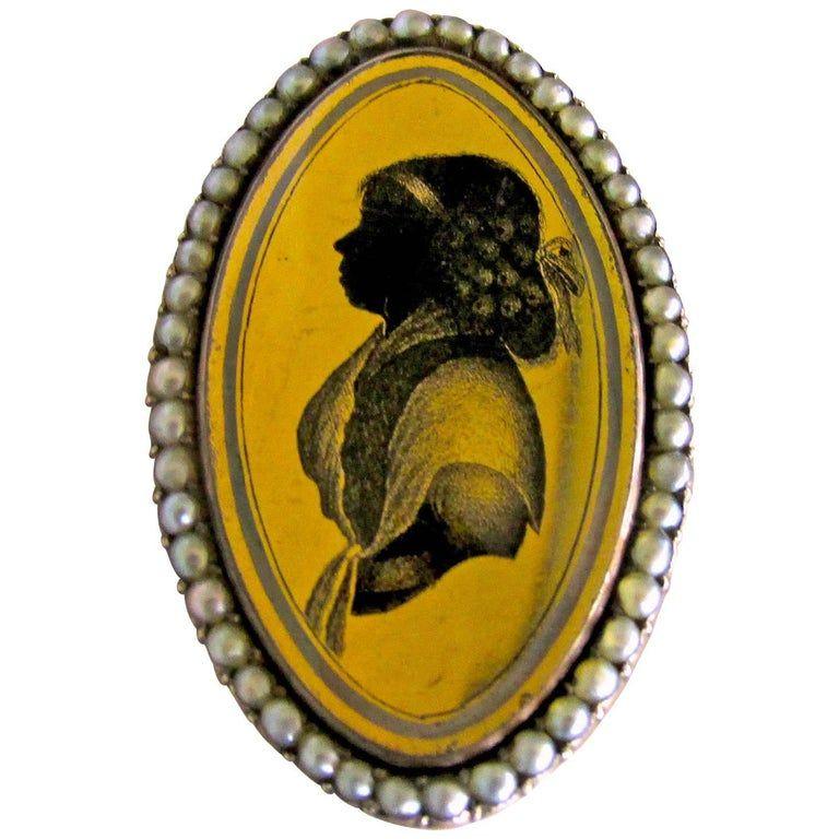 Antique Pearl and Verre Eglomisé Portrait Ring