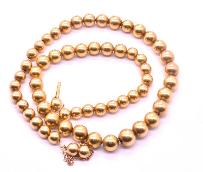 Antique 18 Karat Victorian Gold Beaded Collar Necklace, circa 1860