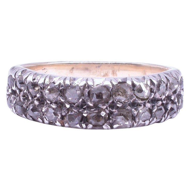 18 Karat Georgian Double Row Diamond Half Hoop Band Ring, circa 1830