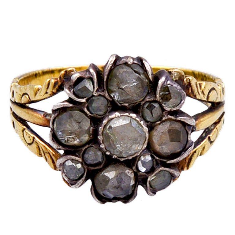 C1720 Georgian Diamond Cluster Flower Form Ring