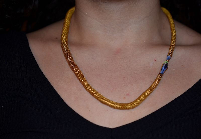 Woven Ouroboros Necklace with Enamelwork and Amethyst Paste Eyes