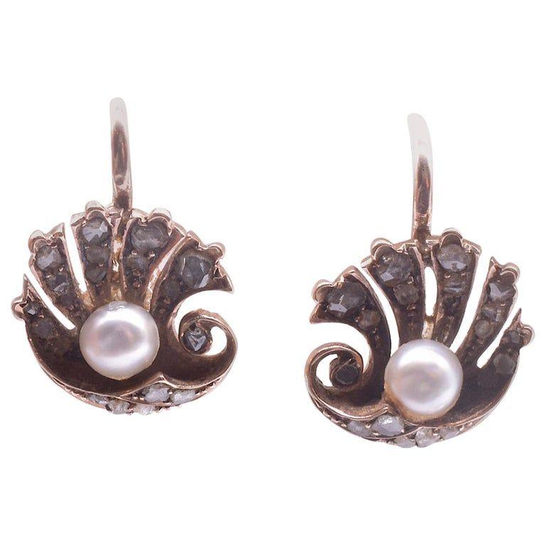 Rose Diamond Pearl Clam Shell Earrings