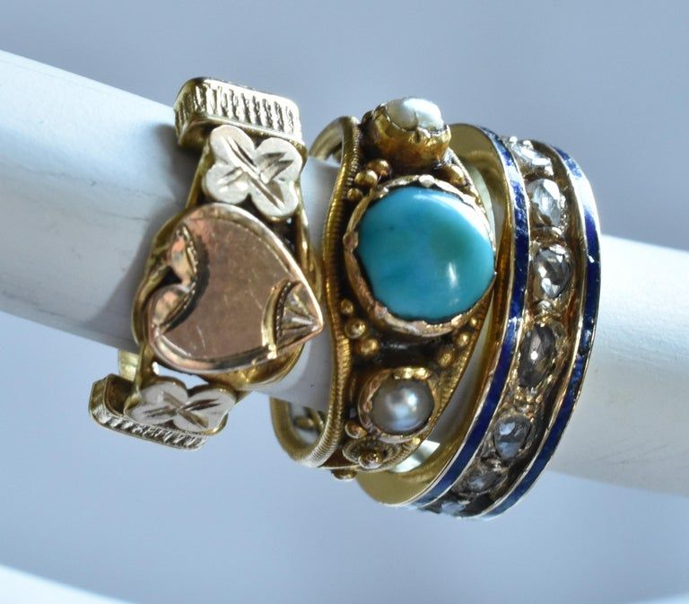 Victorian Baby Ring with Rose Diamonds and Blue Enamel