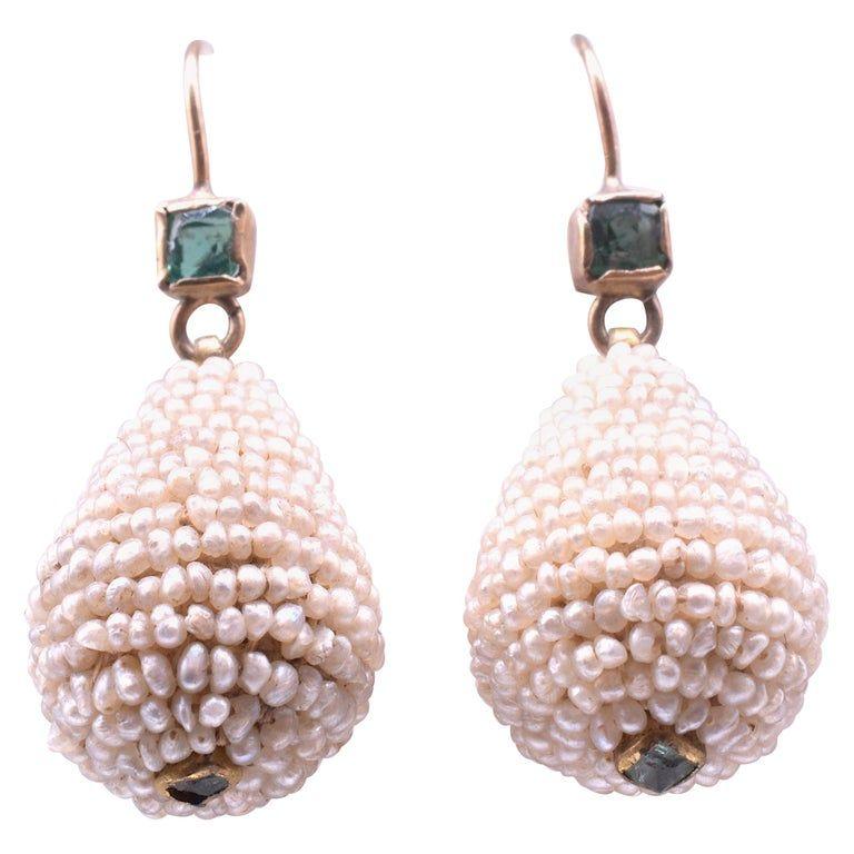Emerald and Pearl Teardrop Earrings