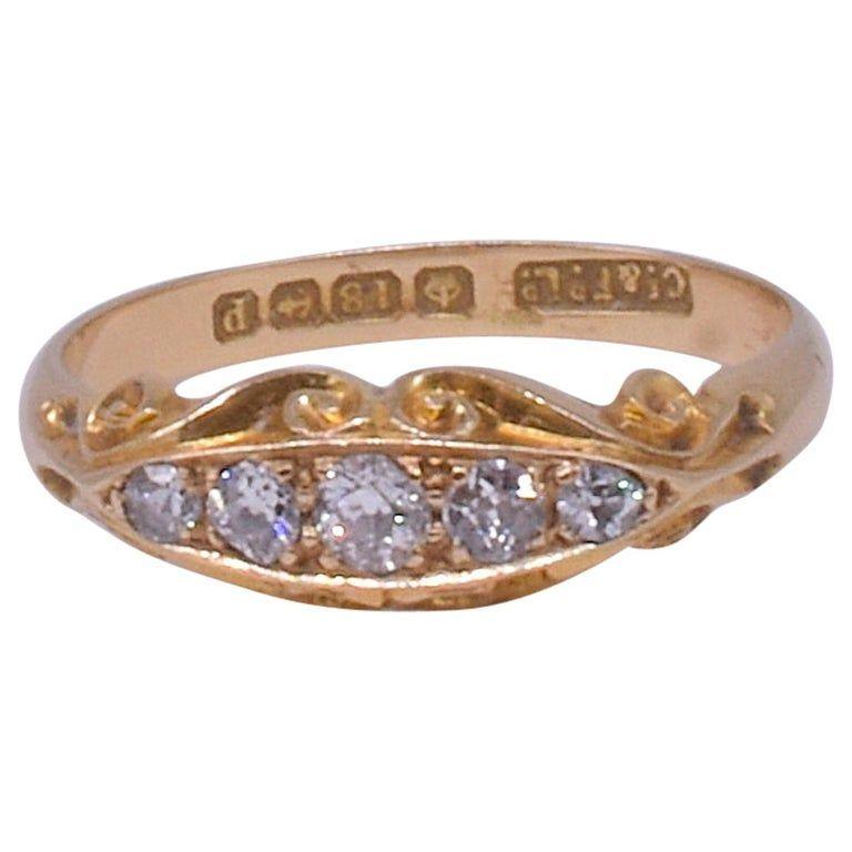 18 Carat 5-Stone Diamond Ring HM Birmingham, 1864