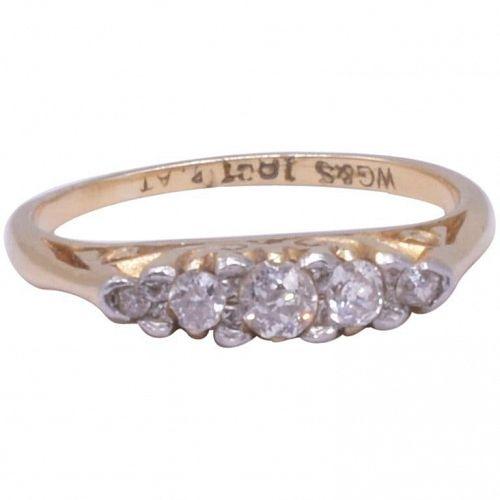 Antique 18 Karat And Platinum 5-Stone Diamond Ring, circa 1900