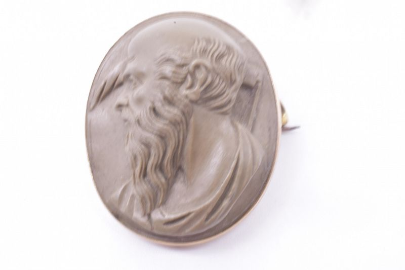 Lava Cameo Brooch of Saturn Mounted on 9K, C1860
