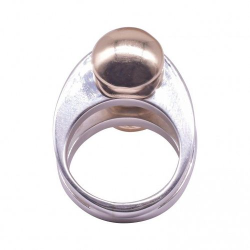C 1970 Pierre Cardin 14k and Sterling Silver Modernist Circle Ring