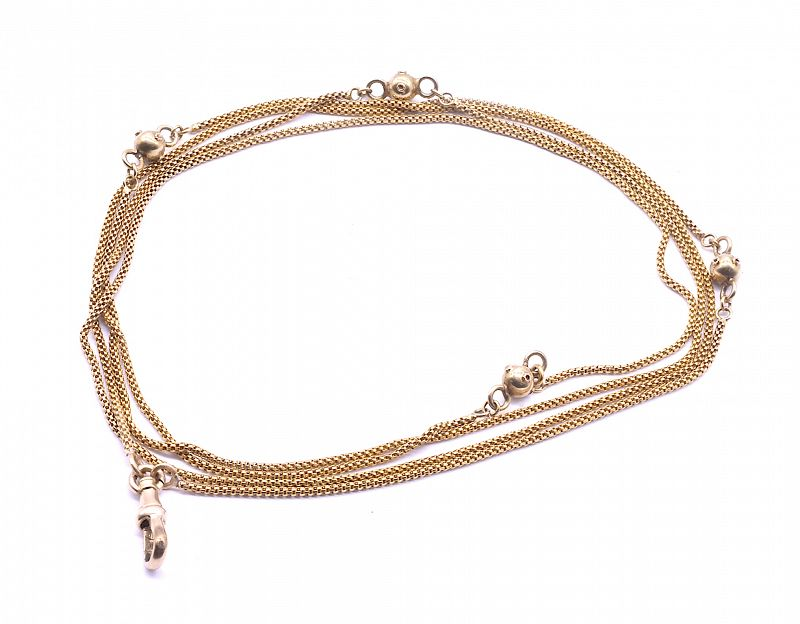 Victorian 15K Rope Chain Necklace with Decorative Gold Balls