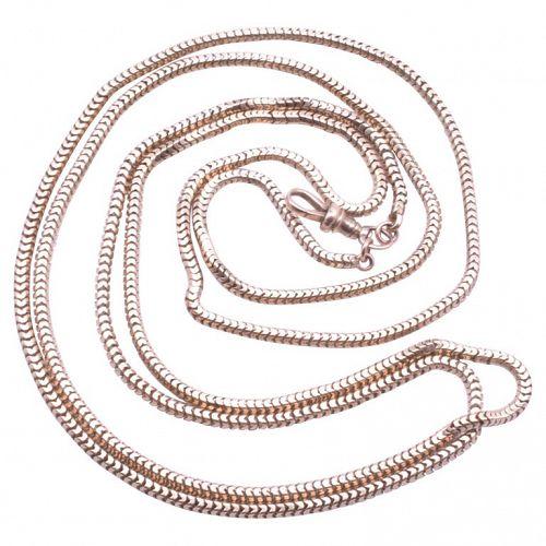 Victorian 9K Slinky LongGuard Snake Chain Necklace C. 1890