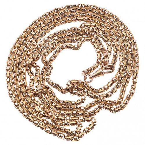 C1890 15 Karat Gold Fancy Box Link Victorian Long Guard Chain